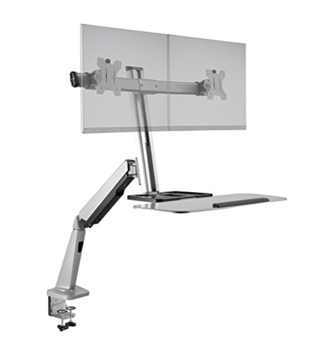 Ergotech FDM-Lift-2 Freedom Lift Sit Monitor Stand, Clamp, Dual, Silver
