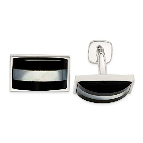 - 925 Sterling Silver Mother Of Pearl Black Onyx Cufflinks Cuff Link Man Fine Jewelry Gift For Dad Mens For Him