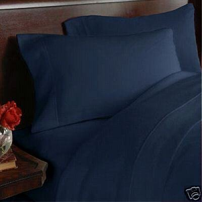 1000-Thread-Count Egyptian Cotton 1000TC Duvet Set and 2 Shams, Queen, Navy Solid (Egyptian 1000tc Luxury Duvet)
