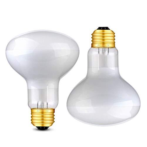 Uva Lamps - Aomryom 100W 2-Pack Basking Spot Heat Lamp UVA Soft White Light Glass Heat Bulb for Reptile and Amphibian
