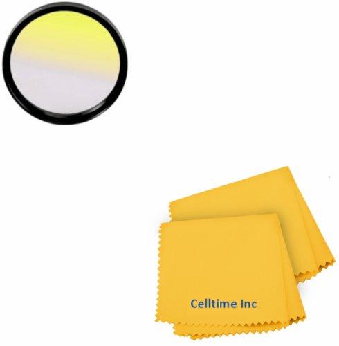 72MM Celltime Elite Graduated Yellow Lens Color Filter for DSLR Cameras + Celltime Elite Cleaning Cloth