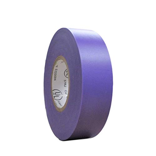 TradeGear SINGLE ROLL PURPLE MATTE Electrical Tape, Colored Durable Adhesive, Waterproof PVC, Rubber Resin, UL Listed, 60' x ¾