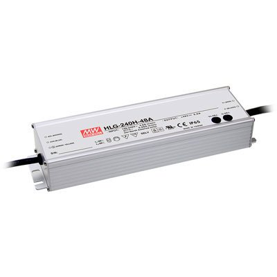 Mean Well HLG-240H-24A Switching LED Power Supply, Single Output, 24V, 0-10A, 240W, 1.5'' H x 2.7'' W x 9.6'' L