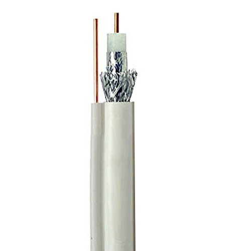 100' FT RG6 Coaxial Cable White with Ground 3 GHz Solid Copper 18 AWG Center Series 6 Drop Satellite Digital HDTV CATV RG-6 Bulk Cable Length Outdoor Suspension Drop Cable