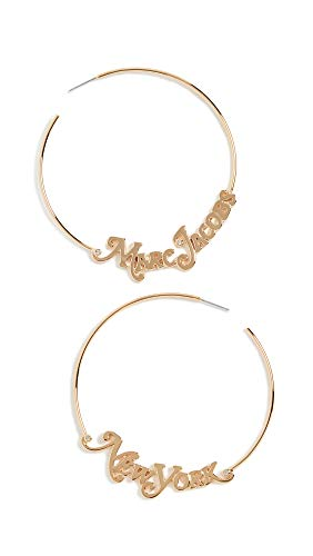 Marc Jacobs Women's The Logo Hoops, Gold, One Size