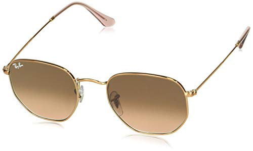Ray-Ban (RDYQ9) RB3548N Hexagonal Flat Lenses Sunglasses Rectangular, Copper/Pink Gradient Brown, 51 mm (Ray-ban Leopard)