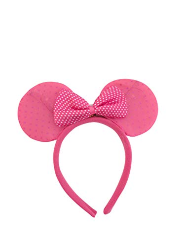 Mammoth Sales Light Up LED Flashing Mouse Head Ears Headband Costume (Dk Pink Dotted) ()