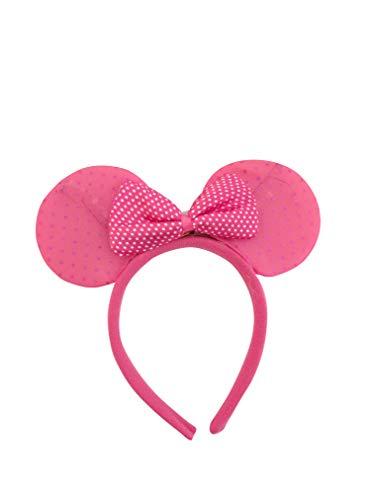 (Mammoth Sales Light Up LED Flashing Mouse Head Ears Headband Costume (Dk Pink)