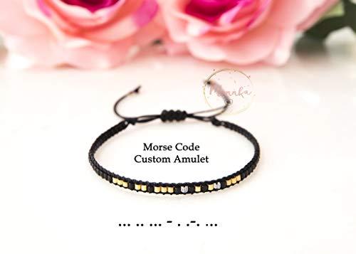 (Custom Morse Code Bracelet, Morse Code Amulet. Personalized, Minimal Bracelet. Friendship, Minimal Bracelet, Wish Bracelet, Dainty Simple, Bridesmaid Gift, Flower Girl Gift, Hidden Message Bracelet)