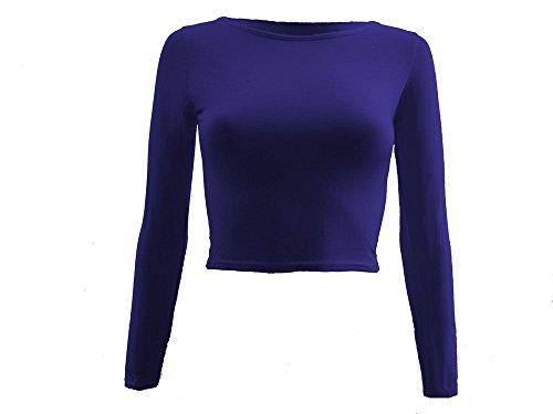 Lush Clothing 83a-womens girocollo manica lunga Crop Top Corto Elasticizzato/t-shirt-8,10,12,14 Blu blu