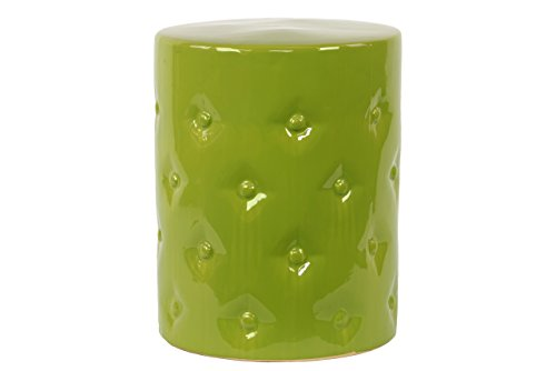 Green Ceramic Stool (Plutus Brands Exquisite Customary Styled Ceramic Garden Stool Green)