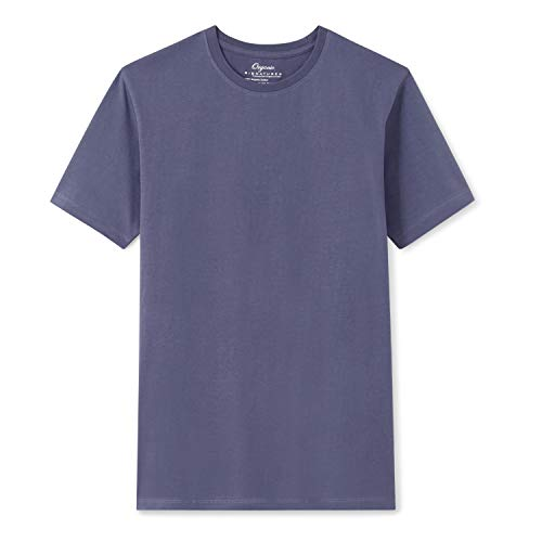 Organic Signatures Men's Short-Sleeve Crewneck Cotton T-Shirt (Medium, Blue)
