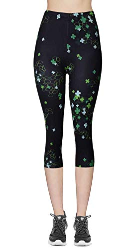 VIV Collection Regular Size Printed Brushed Capris (Lucky Clover)