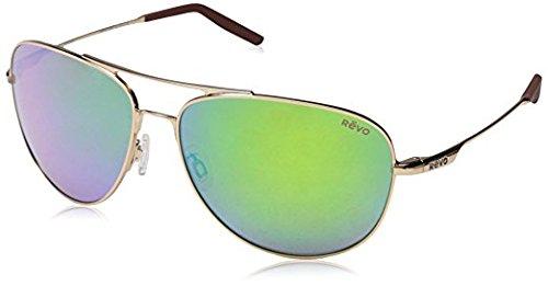 Revo Windspeed RE 3087 Polarized Aviator Sunglasses, Matte Black/Green Water, 61 mm
