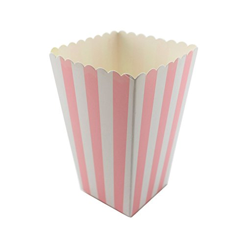 Ipalmay Polka Dot, Stripe and Chevron Mini Paper Popcorn Boxes(36 pcs, Pink Striped)