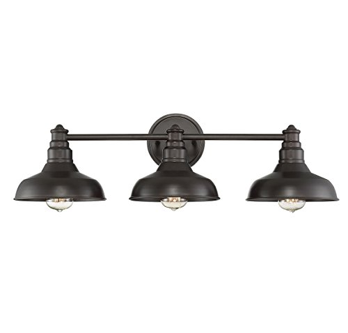 (Trade Winds Lighting TW80019ORB Industrial Barn Metal 3 Light Metal Shade Bath Vanity Wall Sconce, in Oil Rubbed Bronze)