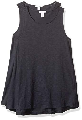 Daily Ritual Women's Washed Cotton Boat Neck Swing Tank Top, Navy, Small -