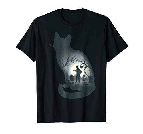 Black Cat Silhouette T-shirt, Graveyard Scene, Fun Halloween