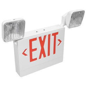TCP Emergency Combo Exit Sign w/Red Lettering and White Housing - 20784 (Case of 3) (White Exit Sign)