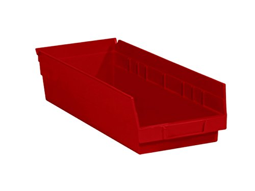 RetailSource 17 7/8'' x 6 5/8'' x 4'' Red Plastic Shelf Bin Box by RetailSource