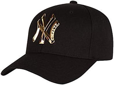 Xiaoha Store NY Baseball Hat Adult Men Women for 3D Metal Sign Yankees Cap (Gold)