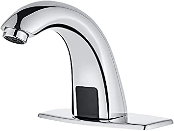 Brushed Nickel Luxice Automatic Touchless Bathroom Sink Faucet With Hole Cover Plate Battery Or Plug In Sensor Ac Dc Powered Sensor Hands Free Bathroom Tap With Control Box And Temperature Mixer Tools Home