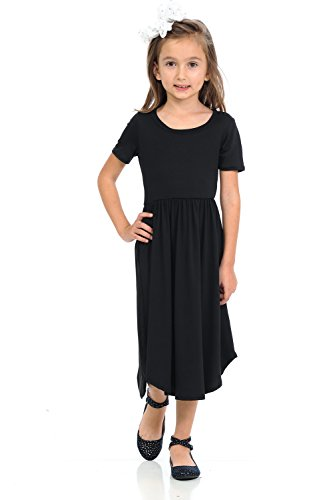 Pastel by Vivienne Honey Vanilla Girls' Short Sleeve Midi Dress with Pocket and Easy Removable Label Large 9-10 Years Black