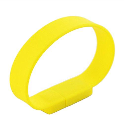 New Fashion Silicone Bracelet USB 2.0 Flash Memory Drive! (4GB, Yellow)