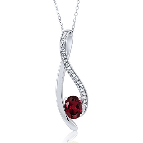 1.5 Inch Oval Shaped Gemstone Infinity Pendant With White Zirconia & 18 Inch Chain -