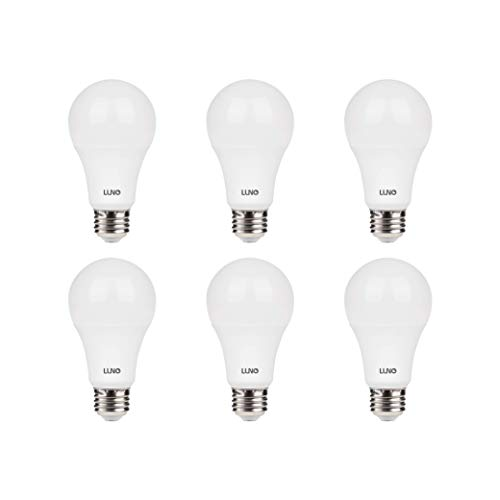LUNO A19 Dimmable LED Bulb, 11W (75W Equivalent), 1100 Lumens, 5000K (Daylight), Medium Base (E26),UL & Energy Star (6-Pack)