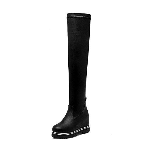 VogueZone009 Damen Rein Weiches Material Hoher Absatz Reißverschluss Schließen Zehe Stiefel, Schwarz, 40