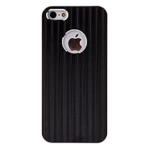 Solid Color Vertical Stripes Pattern Metal Hard Case for iPhone 5/5S (Optional Colors) - COLOR#Brown
