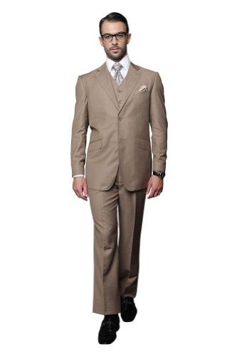 Statement 3 PC MEN'S SUIT TZ-100 Italian Solid Color Super 150'S Wool ()