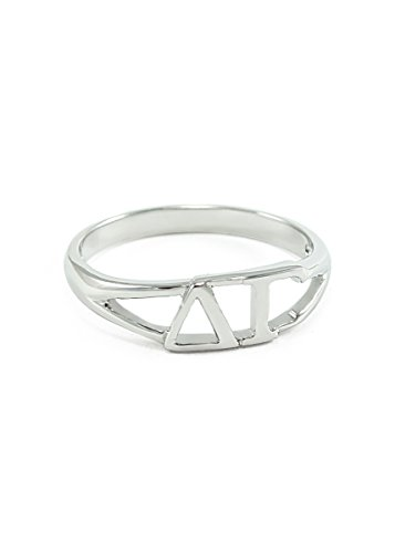 The Collegiate Standard Sterling silver Delta Gamma ring with cut-out letters size 6 ()