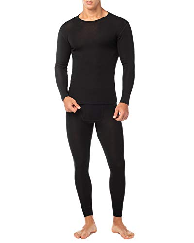 LAPASA Men's 100% Merino Wool Thermal Underwear Long John Set Lightweight Base Layer Top and Bottom M31 (Small, Black)