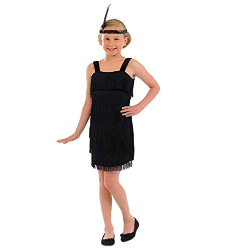 Girls 20s Flapper Girl Dress Black Fringed Decades Costume - Small