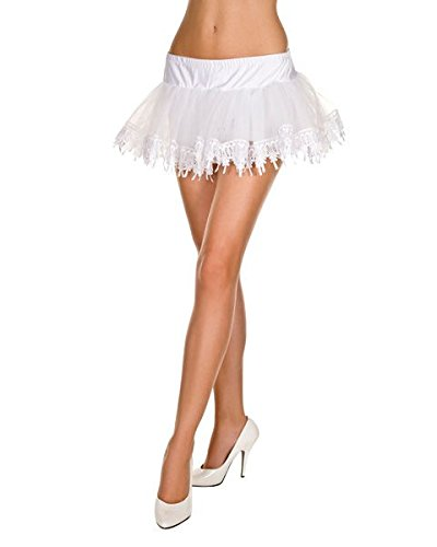 White Petticoat Teardrop (MUSIC LEGS Women's Tear Drop Lace Net Petticoat, White, One)