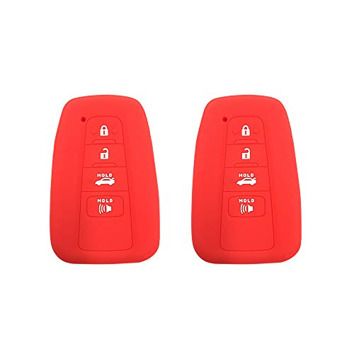 Bar Chr (BAR Autotech Remote Key Silicone Rubber Keyless Entry Shell Case Fob and Key Skin Cover 4 Buttons Fit For 2018 Toyota Camry C-HR Prius (Red))
