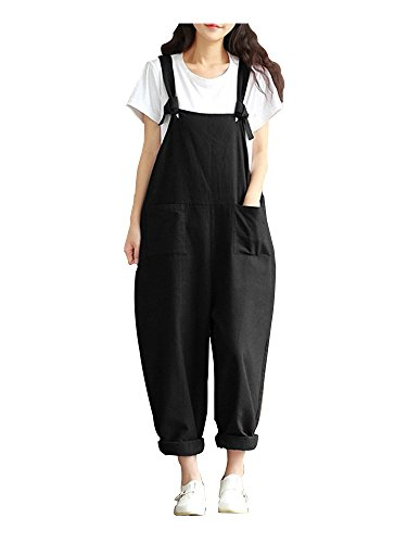 Sobrisah Overalls for Women Casual Cotton Jumpsuit Plus Size Baggy Bib Wide Leg Overalls Pants Black Tag 3XL ()