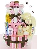 Trendy Pink & Brown Diaper Cake - Baby Shower Gift Idea for Newborn Girls