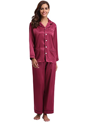 Aibrou Women's Satin Pajamas Set Long Sleeve and Long Button-Down Sleepwear Loungewear,Wire Red,Large