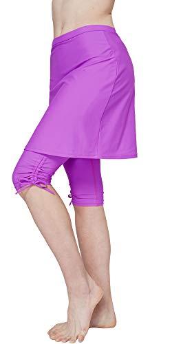 HonourSex Women Swim Skirted Leggings UPF50+ High Waist Swimsuits Skorts Bottoms, Surfing Beach Athletic Capri -