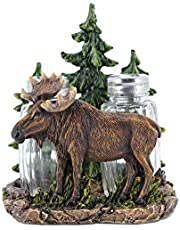 Comfy Hour Wildlife Collection Resin Moose Beside Pine Tree Salt and Pepper Bottle, S&P Set of 2