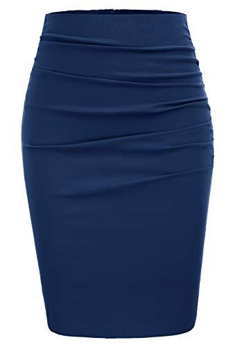 GRACE KARIN Women's Knee Length Pencil Skirts Slim Fit Business Skirt Size L,Dark Blue