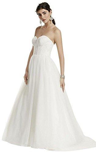 Strapless Wedding Dress with Lace Corset Bodice Style WG3633, Ivory, 8 -