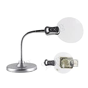Quality Optics Jewelers LED Illuminated Work Desk Top Magnifier Lamp Light Flex Neck Coin Paper
