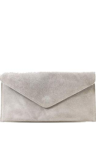 Ladies Shoulder Womens Real Evening Clutch Leather Grey Envelope Chain Suede Bag TWPSxPwa