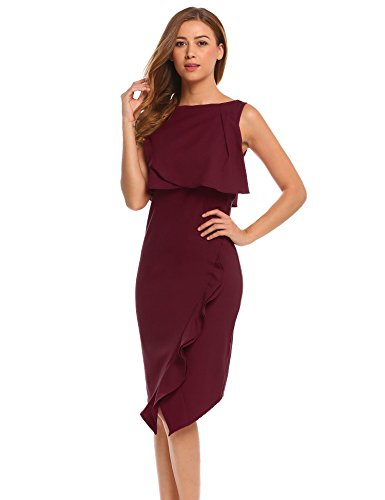 Red Neck Sleeveless Boat Bulges Wine Irregular Bodycon Dress Ruffles Party Women's Solid 1gP1x