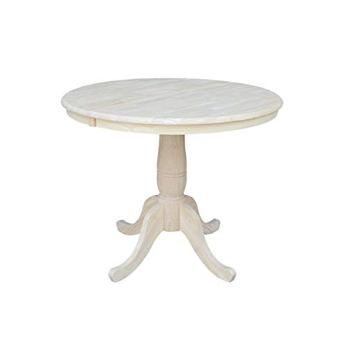 - International Concepts 36-Inch Round Extension Dining Table with 12-Inch Leaf, Unfinished