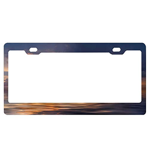 ASUIframeNJK Lonely Boat and Bird Against a Sunset at Ocean with Majestic Clouds in Sky License Plate Aluminum License Plate Cover Heavy Duty Car Tag (12